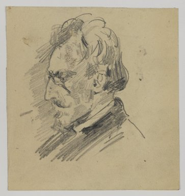 William Merritt Chase (American, 1849-1916). <em>[Untitled] (Sketch of Man's Head)</em>, n.d. Graphite on paper, Sheet: 4 1/2 x 4 1/4 in. (11.4 x 10.8 cm). Brooklyn Museum, Gift of Newhouse Galleries, Inc., 29.27.3 (Photo: Brooklyn Museum, 29.27.3_IMLS_PS4.jpg)