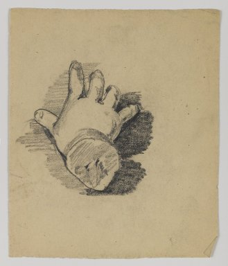 William Merritt Chase (American, 1849-1916). <em>[Untitled] (Study of Infant's Hand)</em>, n.d. Graphite on paper, Sheet: 5 x 4 3/16 in. (12.7 x 10.6 cm). Brooklyn Museum, Gift of Newhouse Galleries, Inc., 29.27.4 (Photo: Brooklyn Museum, 29.27.4_IMLS_PS4.jpg)