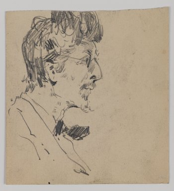William Merritt Chase (American, 1849-1916). <em>[Untitled] (Sketch of Man's Head)</em>, n.d. Graphite on paper, Sheet: 4 11/16 x 4 5/16 in. (11.9 x 11 cm). Brooklyn Museum, Gift of Newhouse Galleries, Inc., 29.27.5 (Photo: Brooklyn Museum, 29.27.5_IMLS_PS4.jpg)