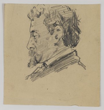 William Merritt Chase (American, 1849-1916). <em>[Untitled] (Sketch of Man's Head)</em>, n.d. Graphite on paper, Sheet: 4 1/2 x 4 1/4 in. (11.4 x 10.8 cm). Brooklyn Museum, Gift of Newhouse Galleries, Inc., 29.27.6 (Photo: Brooklyn Museum, 29.27.6_IMLS_PS4.jpg)