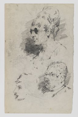 William Merritt Chase (American, 1849-1916). <em>[Untitled] (Study of Heads) (recto) and [Untitled] (Study of Two Male Heads) (verso)</em>, n.d. Graphite on paper, Sheet: 7 1/8 x 4 7/16 in. (18.1 x 11.3 cm). Brooklyn Museum, Gift of Newhouse Galleries, Inc., 29.27.7a-b (Photo: Brooklyn Museum, 29.27.7a_IMLS_PS4.jpg)
