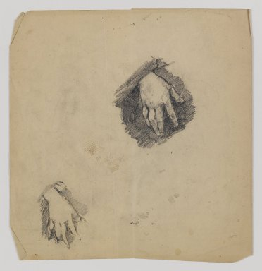 William Merritt Chase (American, 1849-1916). <em>[Untitled] (Study of Child's Hands)</em>, n.d. Graphite on paper, Sheet (folded, irregular): 8 7/8 x 8 1/2 in. (22.5 x 21.6 cm). Brooklyn Museum, Gift of Newhouse Galleries, Inc., 29.27.8 (Photo: Brooklyn Museum, 29.27.8_IMLS_PS4.jpg)