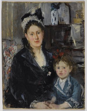 Berthe Morisot (French, 1841-1895). <em>Portrait of Mme Boursier and Her Daughter (Portrait de Mme Boursier et de sa fille)</em>, ca. 1873. Oil on canvas, 29 5/16 x 22 3/8 in. (74.5 x 56.8 cm). Brooklyn Museum, Museum Collection Fund, 29.30 (Photo: Brooklyn Museum, 29.30_PS9.jpg)