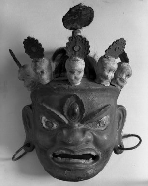 <em>Large Mask</em>, 19th century. Paper mache and shells, 21 3/8 x 14 9/16 in. (54.3 x 37 cm). Brooklyn Museum, Gift of Mary Babbott Ladd and Frank L. Babbott, Jr. in memory of their father Frank L. Babbott, 29.3. Creative Commons-BY (Photo: Brooklyn Museum, 29.3_acetate_bw.jpg)
