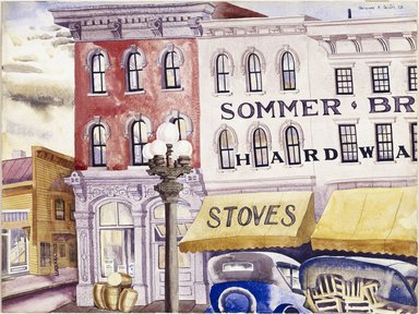 Clarence Holbrook Carter (American, 1904-2000). <em>Sommer Brothers, Stoves and Hardware</em>, 1928. Watercolor over graphite on off-white, thick, smooth-textured wove paper, 15 1/8 x 20 1/8 in. (38.4 x 51.1 cm). Brooklyn Museum, Carll H. de Silver Fund, 29.65. © artist or artist's estate (Photo: Brooklyn Museum, 29.65_SL1.jpg)