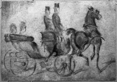 Constantin Guys (French, 1805-1892). <em>Calèche No. 1</em>, n.d. Pencil and charcoal with India ink on wove paper, Sheet: 6 11/16 x 9 7/16 in. (17 x 24 cm). Brooklyn Museum, Museum Collection Fund, 29.73 (Photo: Brooklyn Museum, 29.73_acetate_bw.jpg)