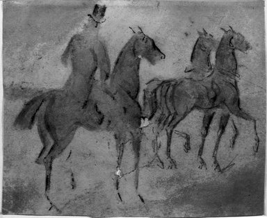 Constantin Guys (French, 1805-1892). <em>Calèche and Cavaliers (Calèche et cavaliers)</em>, n.d. Pencil, charcoal, and wash on wove paper, Sheet: 6 3/4 x 8 1/8 in. (17.1 x 20.6 cm). Brooklyn Museum, Museum Collection Fund, 29.75 (Photo: Brooklyn Museum, 29.75_acetate_bw.jpg)