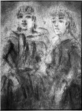 Constantin Guys (French, 1805-1892). <em>Study of Two Women (Étude de deux femmes)</em>, n.d. Pencil, charcoal, and wash on wove paper, Sheet: 8 x 5 7/8 in. (20.3 x 14.9 cm). Brooklyn Museum, Museum Collection Fund, 29.78 (Photo: Brooklyn Museum, 29.78_acetate_bw.jpg)