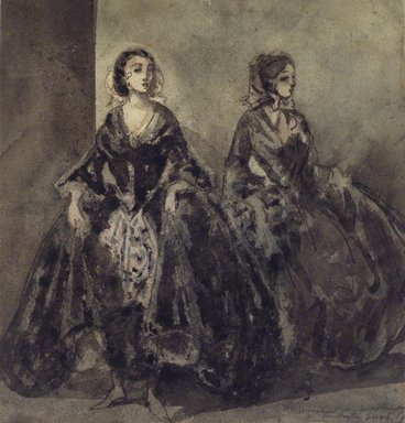 Constantin Guys (French, 1805-1892). <em>Two Women (Deux femmes)</em>, n.d. India ink and wash on heavy board, Sheet: 8 1/4 x 7 15/16 in. (21 x 20.2 cm). Brooklyn Museum, Museum Collection Fund, 29.80 (Photo: Brooklyn Museum, 29.80_transp968.jpg)