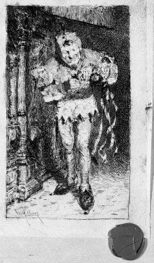 William Merritt Chase (American, 1849-1916). <em>The Court Jester</em>, 1880. Etching on tan parchment-like tissue, Plate: 6 1/2 x 4 3/16 in. (16.5 x 10.7 cm). Brooklyn Museum, Gift of the Newhouse Galleries, 29.91 (Photo: Brooklyn Museum, 29.91_bw.jpg)