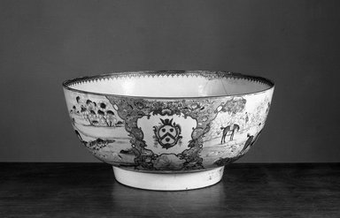 <em>Lowestoft Punch Bowl</em>. Brooklyn Museum, Frederick Loeser Fund, 30.1080. Creative Commons-BY (Photo: Brooklyn Museum, 30.1080_view1_acetate_bw.jpg)