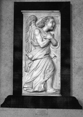 Giovanni Angelo Montorsoli (Italian, School of Florence, ca. 1507-1563). <em>Angels in Adoration</em>, mid-16th century. Marble, 31 1/2 x 15in. (80 x 38.1cm). Brooklyn Museum, Gift of Mrs. Frederic B. Pratt, 30.1102a-b. Creative Commons-BY (Photo: Brooklyn Museum, 30.1102a-b_glass_bw.jpg)
