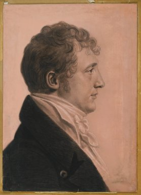 Charles Balthazar Julien Févret de Saint-Mémin (French, 1770-1852, active United States, 1793-1814). <em>James Alexander Fulton of Mount Erin</em>, ca. 1808. Black crayon, pastel, charcoal, and white chalk on paper coated with pink opaque watercolor and pastel mounted to wood-pulp board, sheet: 21 5/16 x 15 1/4 in. (54.1 x 38.7 cm). Brooklyn Museum, Museum Collection Fund, 30.1104 (Photo: Brooklyn Museum, 30.1104_PS2.jpg)
