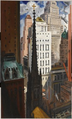 Bertram Hartman (American, 1882-1960). <em>Trinity Church and Wall Street</em>, 1929. Oil on canvas, 50 x 30in. (127 x 76.2cm). Brooklyn Museum, John B. Woodward Memorial Fund, 30.1109 (Photo: Brooklyn Museum, 30.1109_PS1.jpg)