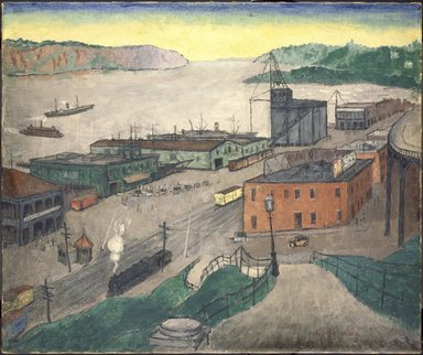Glenn O. Coleman (American, 1884-1932). <em>Fort Lee Ferry</em>, 1923. Oil on canvas, 25 x 29 7/8 in. (63.5 x 75.9 cm). Brooklyn Museum, John B. Woodward Memorial Fund, 30.1153 (Photo: Brooklyn Museum, 30.1153_SL3.jpg)