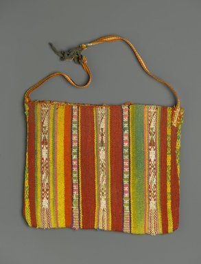 <em>Bag for Carrying Coca Leaves</em>, 20th century. Camelid fiber?, wool?, 10 x 17 in. (25.4 x 43.2 cm). Brooklyn Museum, Alfred T. White Fund, 30.1165.21. Creative Commons-BY (Photo: Brooklyn Museum, 30.1165.21_PS2.jpg)