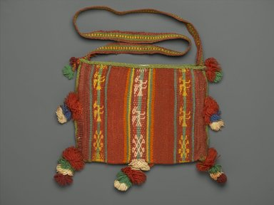 Aymara. <em>Bag for Carrying Coca Leaves</em>, 20th century. Camelid fiber?, wool?, 10 1/2 x 10 1/2 in. (26.7 x 26.7 cm) not including strap and pom-poms. Brooklyn Museum, Alfred T. White Fund, 30.1165.22. Creative Commons-BY (Photo: Brooklyn Museum, 30.1165.22_PS2.jpg)