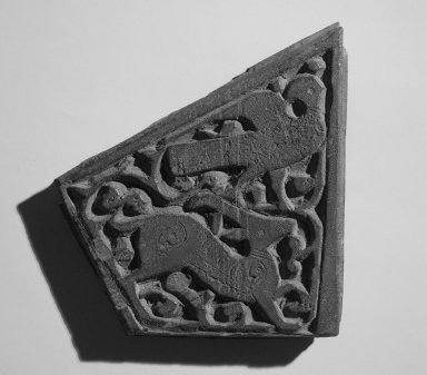 Unknown Artist. <em>Small Trapezium Shaped Panel</em>, 11th century. Wood, 5 1/2 x 1/2 x 6 5/8 in. (14 x 1.2 x 16.8 cm). Brooklyn Museum, Gift of Ruth Fisher Costantino through Mrs. Frederic B. Pratt, 30.1177. Creative Commons-BY (Photo: Brooklyn Museum, 30.1177.jpg)