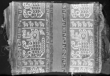 Wari. <em>Textile Fragment, undetermined</em>, 600-1000 C.E. Cotton, camelid fiber, 5 1/2 x 22 7/16 in. (14 x 57 cm). Brooklyn Museum, Gift of George D. Pratt, 30.1194. Creative Commons-BY (Photo: Brooklyn Museum, 30.1194_acetate_bw.jpg)