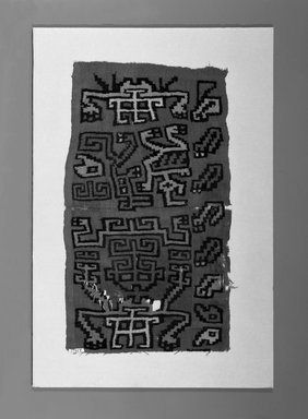Nazca-Wari. <em>Tunic, Unku (?) Fragment (NK) or Hanging, Fragment or Mantle (?) Fragment (AR)</em>, ca. 650-800. Camelid fiber, 16 9/16 x 28 3/4 in. (42 x 73 cm). Brooklyn Museum, Gift of George D. Pratt, 30.1448. Creative Commons-BY (Photo: Brooklyn Museum, 30.1448_bw_IMLS.jpg)