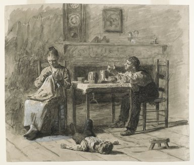 "Thomas Eakins (American, 1844-1916). <em>""Thar's Such A Thing As Calls in This World,"" illustration for ""Mr. Neelus Peeler's Conditions,""</em> 1879. Black ink with opaque white highlights on cream, medium-weight, smooth wove paper, Sheet: 10 7/16 x 12 1/4 in. (26.5 x 31.1 cm). Brooklyn Museum, Brooklyn Museum Collection, 30.1452 (Photo: Brooklyn Museum, 30.1452_PS6.jpg)"
