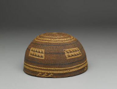 Yurok. <em>Twined Basketry Hat</em>. Fiber, woodwardia fern, 3 9/16 in.  (9.0 cm). Brooklyn Museum, Gift of Charlotte Elizabeth Dudley, 30.1453. Creative Commons-BY (Photo: Brooklyn Museum, 30.1453_PS1.jpg)