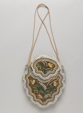 Iroquois (probably). <em>Olive Green Bag with Flaps and Extra Pocket</em>, late 19th-early 20th century. Velvet, beads, silk, cordage, 7 1/16 x 5 11/16 in.  (18 x 14.5 cm). Brooklyn Museum, Gift of Margaret S. Bedell, 30.1459.10. Creative Commons-BY (Photo: , 30.1459.10_front_PS9.jpg)
