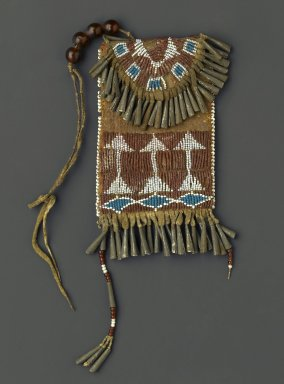 Possibly Ute. <em>Woman's Belt Case</em>, 1880-1890. Hide, metal, beads, pigment, width: 3 3/4 in. (9.5 cm); length: 4 3/4 in. (12.1 cm). Brooklyn Museum, Gift of Margaret S. Bedell, 30.1459.9. Creative Commons-BY (Photo: Brooklyn Museum, 30.1459.9_PS1.jpg)