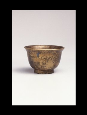 <em>Deep Saké Cup</em>, 18th century. Gold and black lacquer, 2 3/16 x 3 9/16 in. (5.6 x 9.1 cm). Brooklyn Museum, Gift of Mrs. Frederic B. Pratt, 30.1464. Creative Commons-BY (Photo: Brooklyn Museum, 30.1464_SL1.jpg)