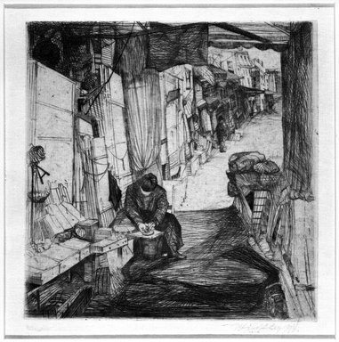 John W. Winkler (American, born Austria, 1890-1979). <em>The Delicatessen Maker (Large)</em>, 1922. Drypoint on wove paper, sheet: 6 7/16 x 6 1/4 in. (16.4 x 15.9 cm). Brooklyn Museum, Gift of G. M. Johnson