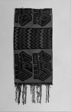 Nazca-Wari. <em>Poncho, Fragment or Tunic, Fragment</em>, 650-750. Camelid fiber, 38 x 15 3/8 in. (96.5 x 39 cm). Brooklyn Museum, Gift of George D. Pratt, 30.1477. Creative Commons-BY (Photo: Brooklyn Museum, 30.1477_bw_IMLS.jpg)