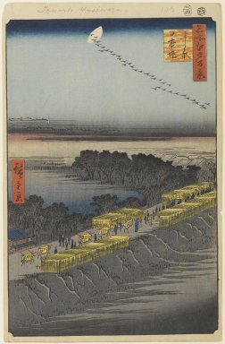 Utagawa Hiroshige (Ando) (Japanese, 1797-1858). <em>Nihon Embankment, Yoshiwara, No. 100 from One Hundred Famous Views of Edo</em>, 4th month of 1857. Woodblock print, Sheet: 14 3/16 x 9 1/4 in. (36 x 23.5 cm). Brooklyn Museum, Gift of Anna Ferris, 30.1478.100 (Photo: Brooklyn Museum, 30.1478.100_PS1.jpg)