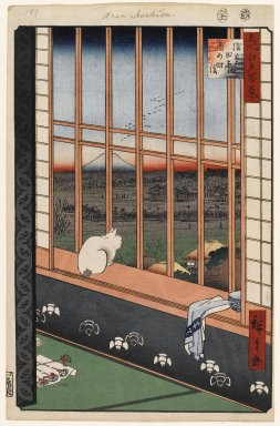 Utagawa Hiroshige (Ando) (Japanese, 1797-1858). <em>Asakusa Ricefields and Torinomachi Festival, No. 101 from One Hundred Famous Views of Edo</em>, 11th month of 1857. Woodblock print, Sheet: 14 3/16 x 9 1/4 in. (36 x 23.5 cm). Brooklyn Museum, Gift of Anna Ferris, 30.1478.101 (Photo: Brooklyn Museum, 30.1478.101_PS1.jpg)