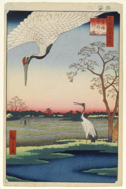 Utagawa Hiroshige (Ando) (Japanese, 1797-1858). <em>Minowa, Kanasugi, Mikawashima, No. 102 from One Hundred Famous Views of Edo</em>, 5th month of 1857. Woodblock print, Sheet: 14 3/16 x 9 1/4 in. (36 x 23.5 cm). Brooklyn Museum, Gift of Anna Ferris, 30.1478.102 (Photo: Brooklyn Museum, 30.1478.102_PS1.jpg)