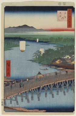 Utagawa Hiroshige (Ando) (Japanese, 1797-1858). <em>Senju Great Bridge, No. 103 from One Hundred Famous Views of Edo</em>, 2nd month of 1856. Woodblock print, Sheet: 14 3/16 x 9 1/4 in. (36 x 23.5 cm). Brooklyn Museum, Gift of Anna Ferris, 30.1478.103 (Photo: Brooklyn Museum, 30.1478.103_PS1.jpg)