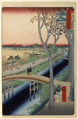 Utagawa Hiroshige (Ando) (Japanese, 1797-1858). <em>Koume Embankment, No. 104 from One Hundred Famous Views of Edo</em>, 2nd month of 1857. Woodblock print, Sheet: 14 3/16 x 9 1/4 in. (36 x 23.5 cm). Brooklyn Museum, Gift of Anna Ferris, 30.1478.104 (Photo: Brooklyn Museum, 30.1478.104_PS1.jpg)