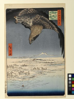 Utagawa Hiroshige (Ando) (Japanese, 1797-1858). <em>Fukagawa Susaki and Jumantsubo, No. 107 from One Hundred Famous Views of Edo</em>, 5th month of 1857. Woodblock print, Sheet: 14 3/16 x 9 1/4 in. (36 x 23.5 cm). Brooklyn Museum, Gift of Anna Ferris, 30.1478.107 (Photo: Brooklyn Museum, 30.1478.107_PS1.jpg)