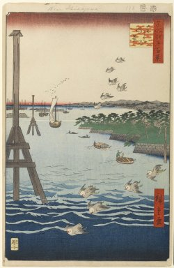 Utagawa Hiroshige (Ando) (Japanese, 1797-1858). <em>View of Shiba Coast, No. 108 from One Hundred Famous Views of Edo</em>, 2nd month of 1856. Woodblock print, Sheet: 14 3/16 x 9 1/4 in. (36 x 23.5 cm). Brooklyn Museum, Gift of Anna Ferris, 30.1478.108 (Photo: Brooklyn Museum, 30.1478.108_PS1.jpg)