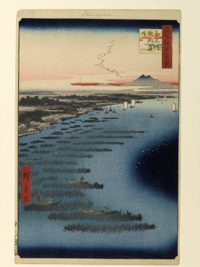 Utagawa Hiroshige (Ando) (Japanese, 1797-1858). <em>Minami-Shinagawa and Samezu Coast, No. 109 from One Hundred Famous Views of Edo</em>, 2nd month of 1857. Woodblock print, Sheet: 14 3/16 x 9 1/4 in. (36 x 23.5 cm). Brooklyn Museum, Gift of Anna Ferris, 30.1478.109 (Photo: Brooklyn Museum, 30.1478.109_PS1.jpg)