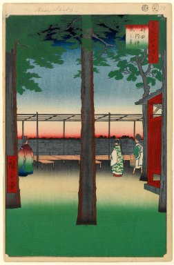 Utagawa Hiroshige (Ando) (Japanese, 1797-1858). <em>Dawn at Kanda Myojin Shrine, No. 10 in One Hundred Famous Views of Edo</em>, 9th month of 1857. Woodblock print, Image: 13 1/4 x 8 7/8 in. (33.7 x 22.5 cm). Brooklyn Museum, Gift of Anna Ferris, 30.1478.10 (Photo: Brooklyn Museum, 30.1478.10_PS1.jpg)