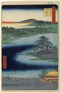 Utagawa Hiroshige (Ando) (Japanese, 1797-1858). <em>Robe-Hanging Pine, Senzoku Pond, No. 110 from One Hundred Famous Views of Edo</em>, 2nd month of 1856. Woodblock print, Sheet: 14 3/16 x 9 1/4 in. (36 x 23.5 cm). Brooklyn Museum, Gift of Anna Ferris, 30.1478.110 (Photo: Brooklyn Museum, 30.1478.110_PS1.jpg)