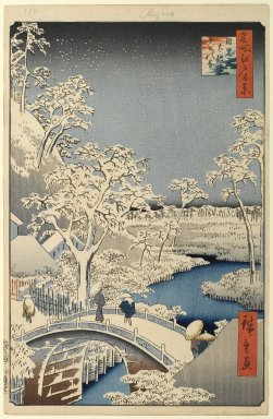 Utagawa Hiroshige (Ando) (Japanese, 1797-1858). <em>Meguro Drum Bridge and Sunset Hill, No. 111 from One Hundred Famous Views of Edo</em>, 4th month of 1857. Woodblock print, Sheet: 14 3/16 x 9 1/4 in. (36 x 23.5 cm). Brooklyn Museum, Gift of Anna Ferris, 30.1478.111 (Photo: Brooklyn Museum, 30.1478.111_PS1.jpg)