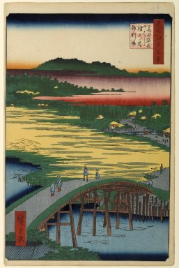 Utagawa Hiroshige (Ando) (Japanese, 1797-1858). <em>Sugatami Bridge, Omokage Bridge, and Jariba at Takata, No. 116 from One Hundred Famous Views of Edo</em>, 1st month of 1857. Woodblock print, Sheet: 14 3/16 x 9 1/4 in. (36 x 23.5 cm). Brooklyn Museum, Gift of Anna Ferris, 30.1478.116 (Photo: Brooklyn Museum, 30.1478.116_PS1.jpg)