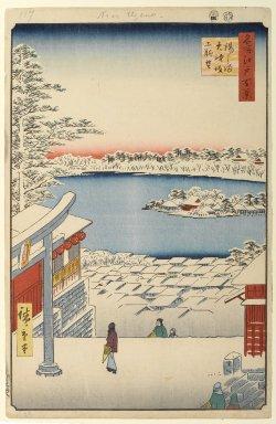 Utagawa Hiroshige (Ando) (Japanese, 1797-1858). <em>Hilltop View, Yushima Tenjin Shrine, No. 117 from One Hundred Famous Views of Edo</em>, 4th month of 1856. Woodblock print, Sheet: 14 3/16 x 9 1/4 in. (36 x 23.5 cm). Brooklyn Museum, Gift of Anna Ferris, 30.1478.117 (Photo: Brooklyn Museum, 30.1478.117_PS1.jpg)
