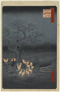 Utagawa Hiroshige (Ando) (Japanese, 1797-1858). <em>New Year's Eve Foxfires at the Changing Tree, Oji, No. 118 from One Hundred Famous Views of Edo</em>, 9th month of 1857. Woodblock print, sheet:  14 3/16 x 9 1/4 in.  (36.0 x 23.5 cm);. Brooklyn Museum, Gift of Anna Ferris, 30.1478.118 (Photo: Brooklyn Museum, 30.1478.118_PS1.jpg)