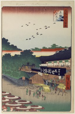 Utagawa Hiroshige (Ando) (Japanese, 1797-1858). <em>Ueno Yamashita, No. 12 in One Hundred Famous Views of Edo</em>, 10th month of 1858. Woodblock print, Image: 13 3/16 x 8 3/4 in. (33.5 x 22.2 cm). Brooklyn Museum, Gift of Anna Ferris, 30.1478.12 (Photo: Brooklyn Museum, 30.1478.12_PS1.jpg)