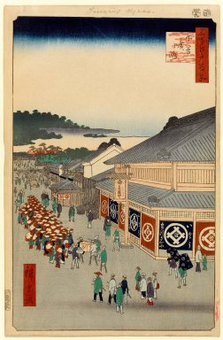 Utagawa Hiroshige (Ando) (Japanese, 1797-1858). <em>Shitaya Hirokoji, No. 13 in One Hundred Famous Views of Edo</em>, 9th month of 1856. Woodblock print, Image: 13 3/8 x 8 5/8 in. (34 x 21.9 cm). Brooklyn Museum, Gift of Anna Ferris, 30.1478.13 (Photo: Brooklyn Museum, 30.1478.13_PS1.jpg)