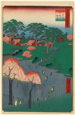 Utagawa Hiroshige (Ando) (Japanese, 1797-1858). <em>Temple Gardens, Nippori, No. 14 in One Hundred Famous Views of Edo</em>, 2nd month of 1857. Woodblock print, Image: 13 3/8 x 9 in. (34 x 22.9 cm). Brooklyn Museum, Gift of Anna Ferris, 30.1478.14 (Photo: Brooklyn Museum, 30.1478.14_PS1.jpg)