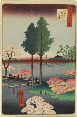 Utagawa Hiroshige (Ando) (Japanese, 1797-1858). <em>Suwa Bluff, Nippori, No. 15 in One Hundred Famous Views of Edo</em>, 5th month of 1856. Woodblock print, Image: 13 1/2 x 9 in. (34.3 x 22.9 cm). Brooklyn Museum, Gift of Anna Ferris, 30.1478.15 (Photo: Brooklyn Museum, 30.1478.15_PS1.jpg)