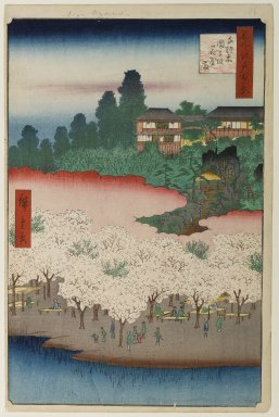 Utagawa Hiroshige (Ando) (Japanese, 1797-1858). <em>Flower Pavilion, Dango Slope, Sendagi, No. 16 in One Hundred Famous Views of Edo</em>, 5th month of 1856. Woodblock print, Image: 13 1/2 x 8 7/8 in. (34.3 x 22.5 cm). Brooklyn Museum, Gift of Anna Ferris, 30.1478.16 (Photo: Brooklyn Museum, 30.1478.16_PS1.jpg)
